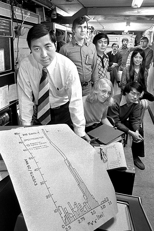 Ting (front) gathers with members of his experimental team at the Alternating Gradient Synchrotron at Brookhaven National Laboratory, where he discovered the J/psi particle independently from Burton Richter working at the Stanford Linear Accelerator. (PHOTO: Brookhaven National Laboratory)