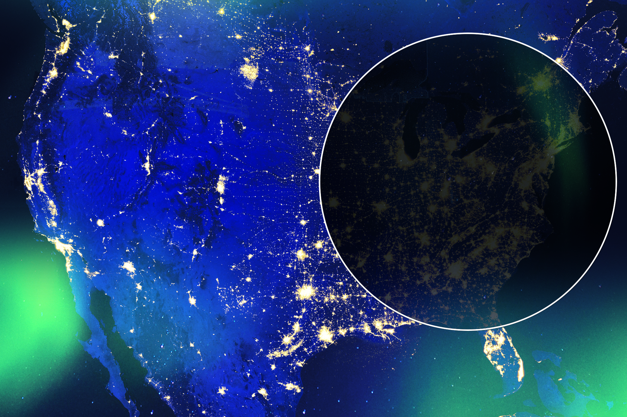 a graphic showing the united states lit up at night