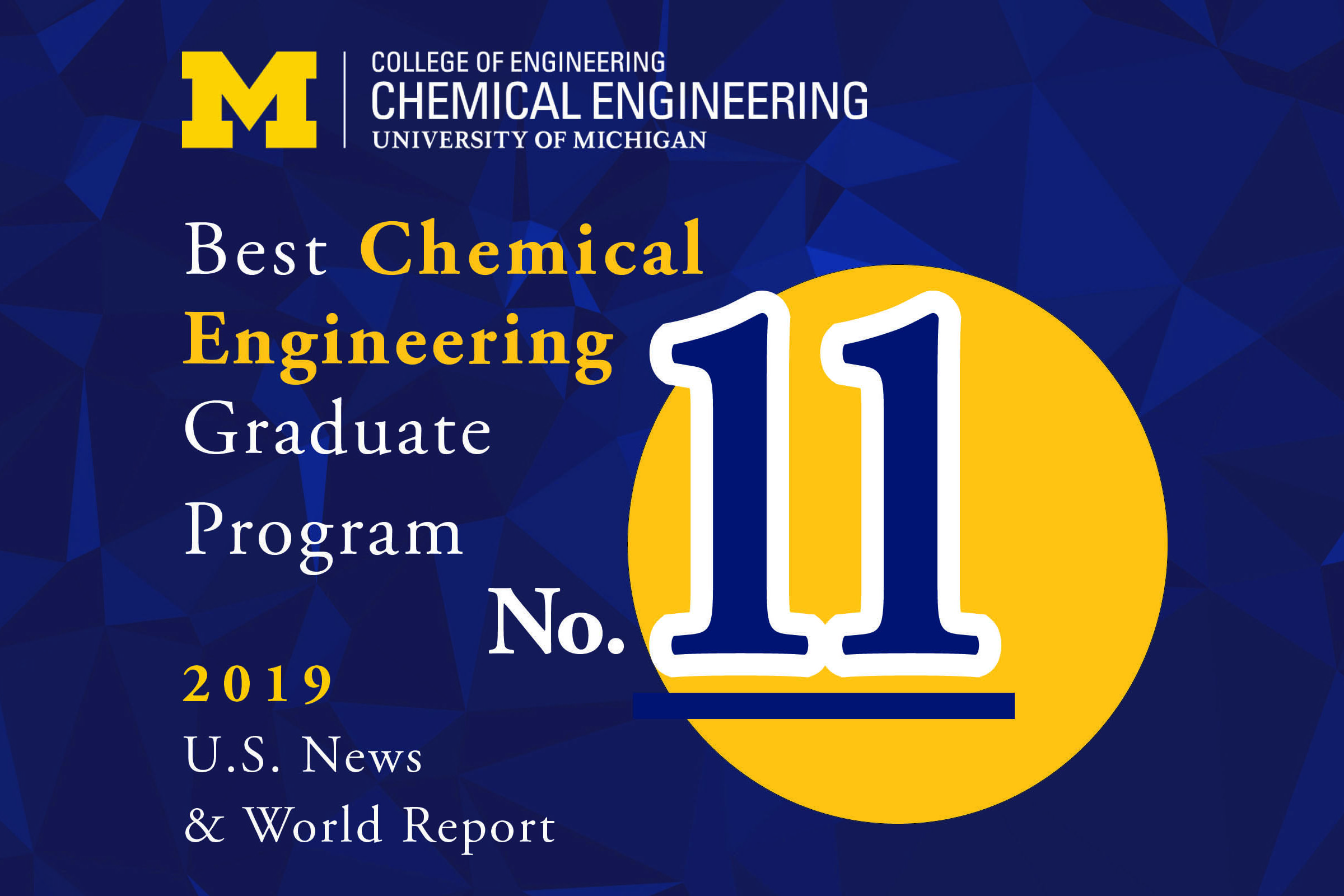 Block M logo with ChE grad program is No. 11 in 2019 US News grad program ranking