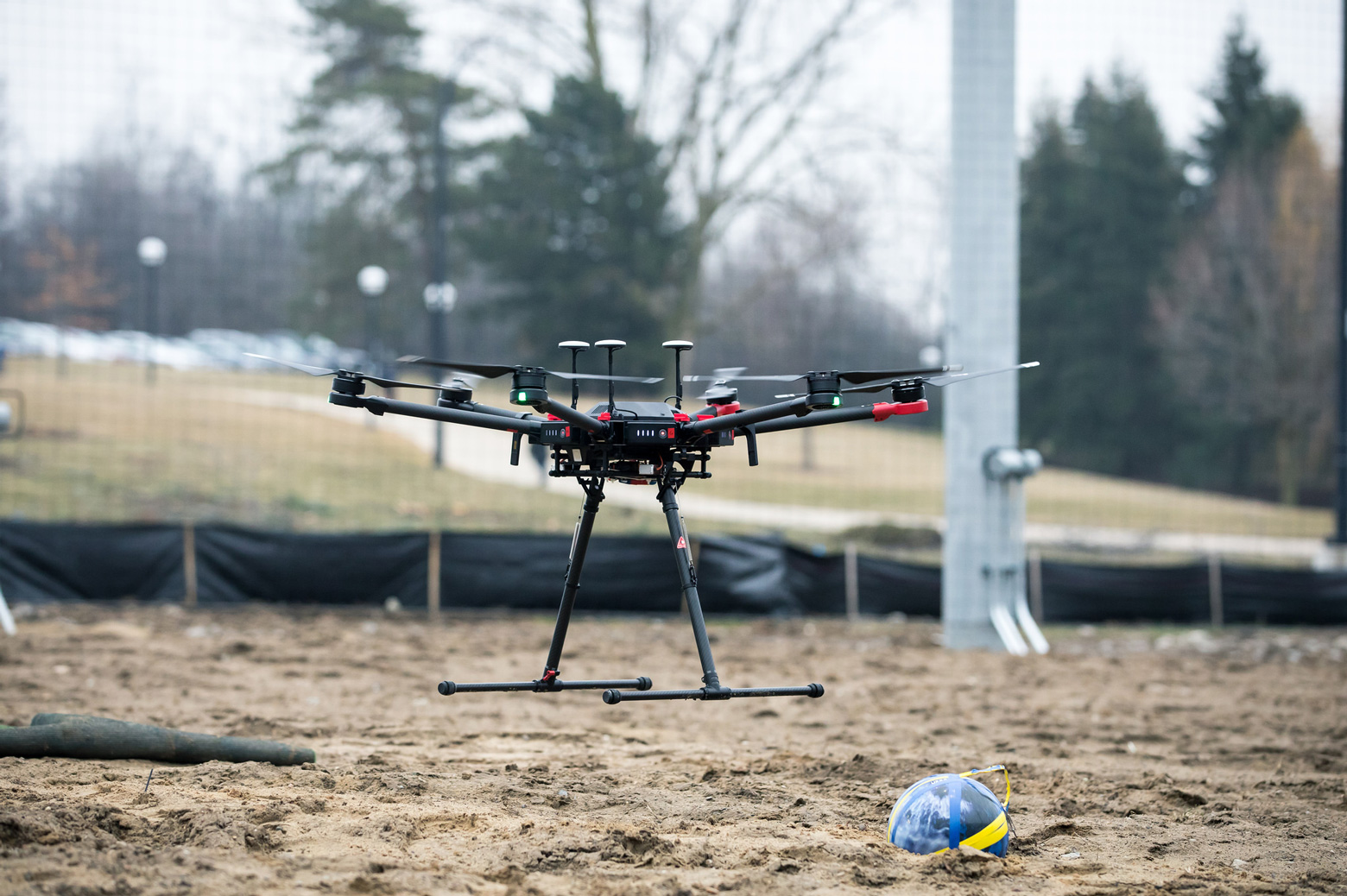 Drone sits on the ground inside the M-Air facility