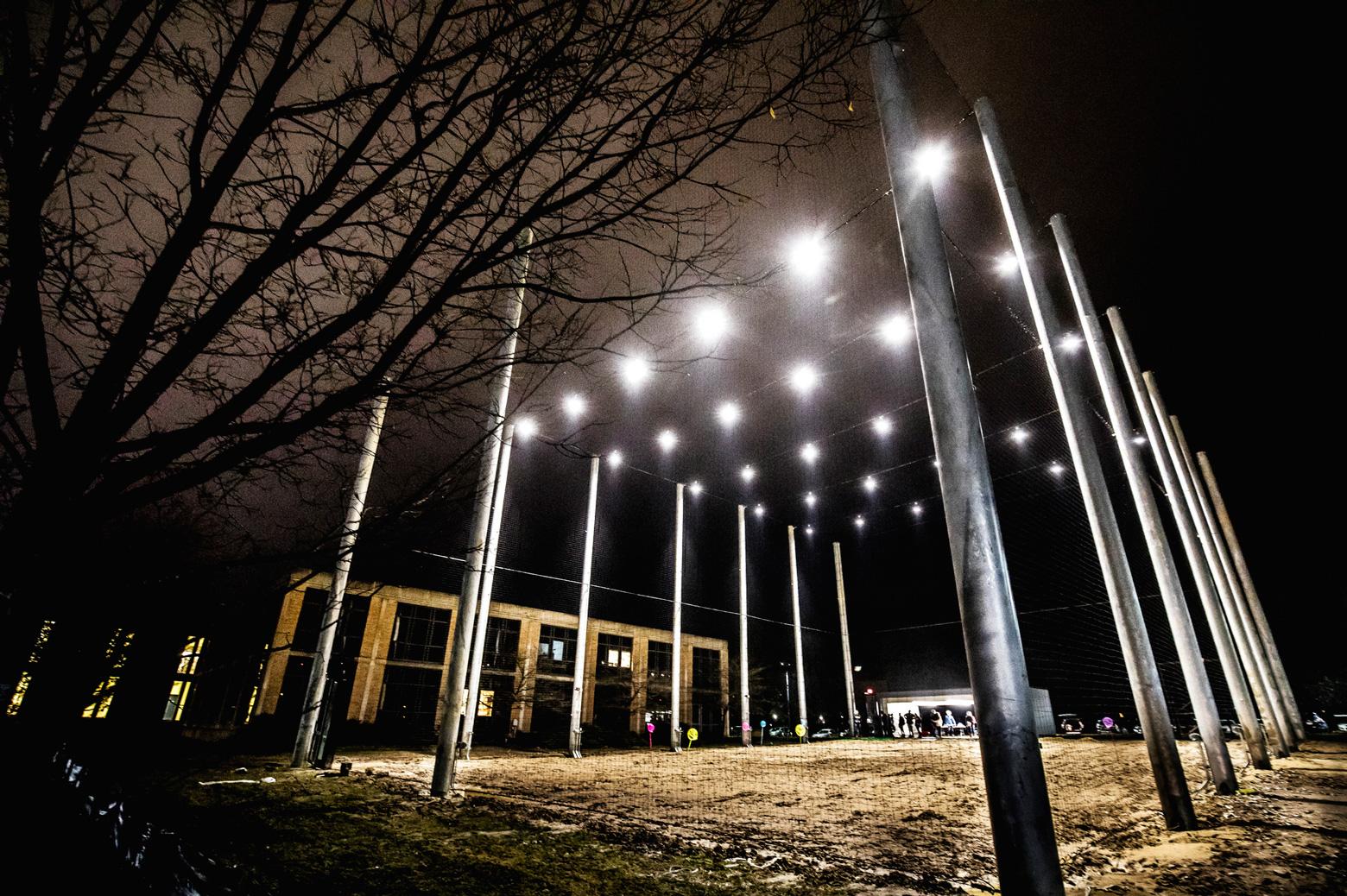 The M-Air facility lit up at night