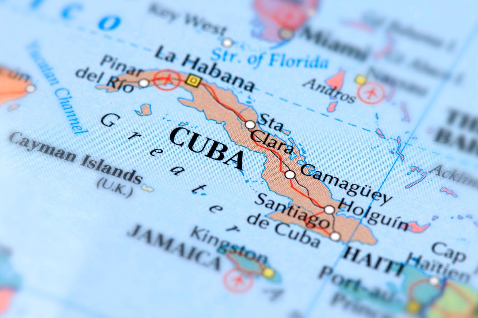 A map of Cuba.