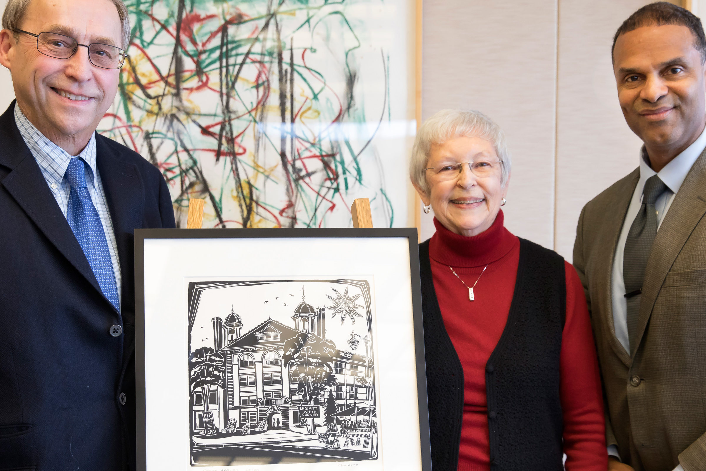 Professor Gilgenbach, Gladys Knoll, and Alec D. Gallimore stand together for a photo