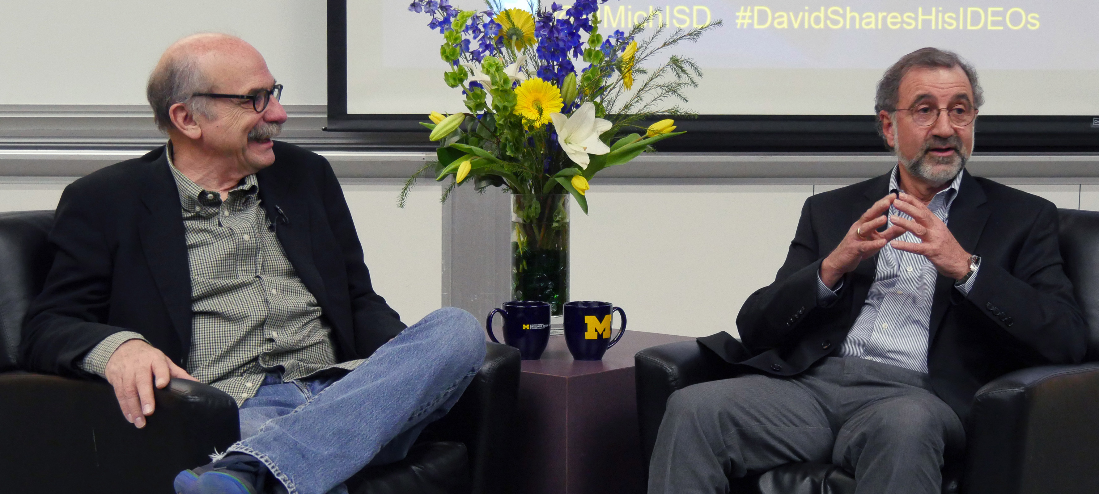 David Kelley (left), in conversation with Panos Papalambros