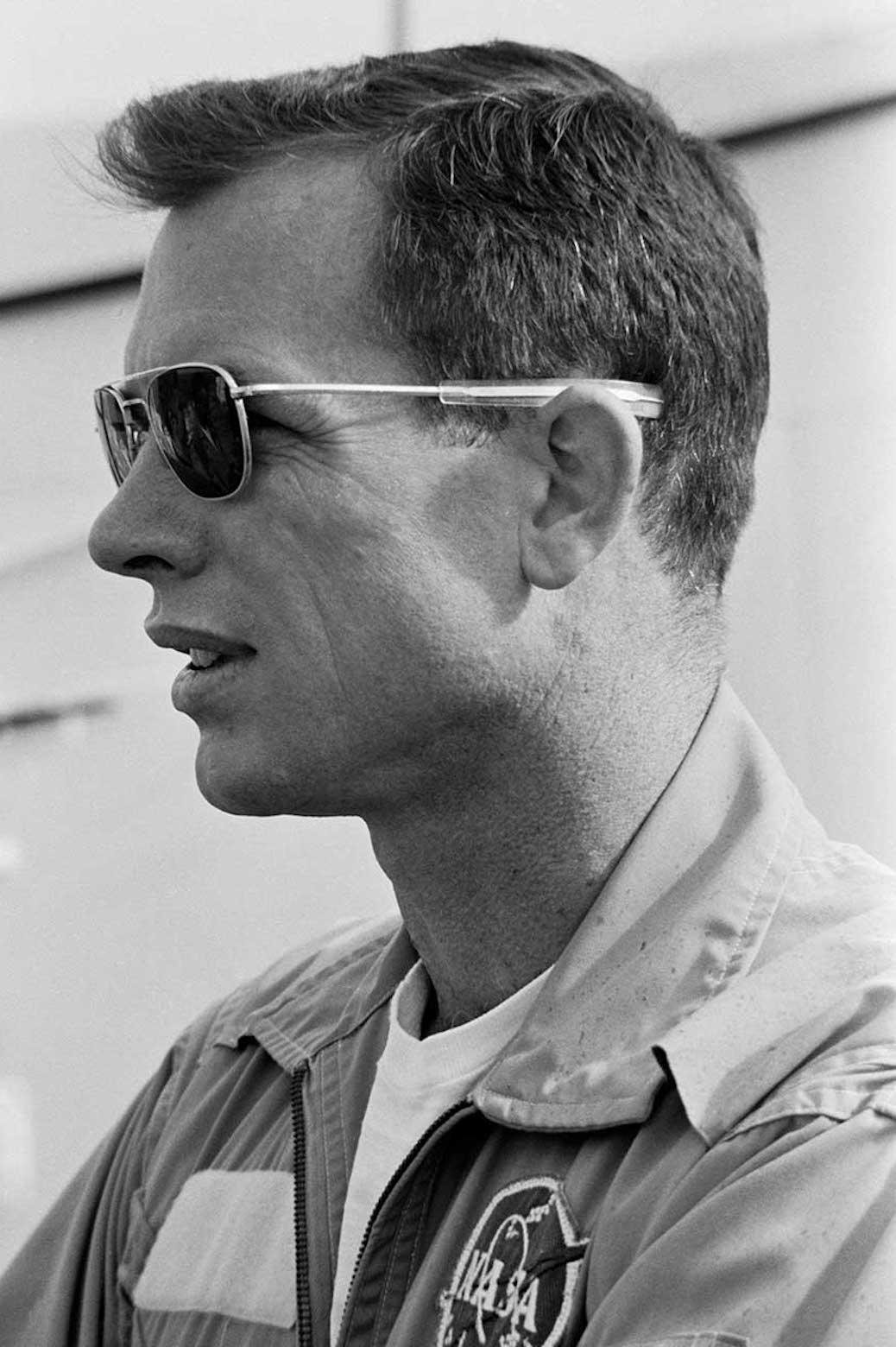 side portrait of David Scott in aviator sunglasses