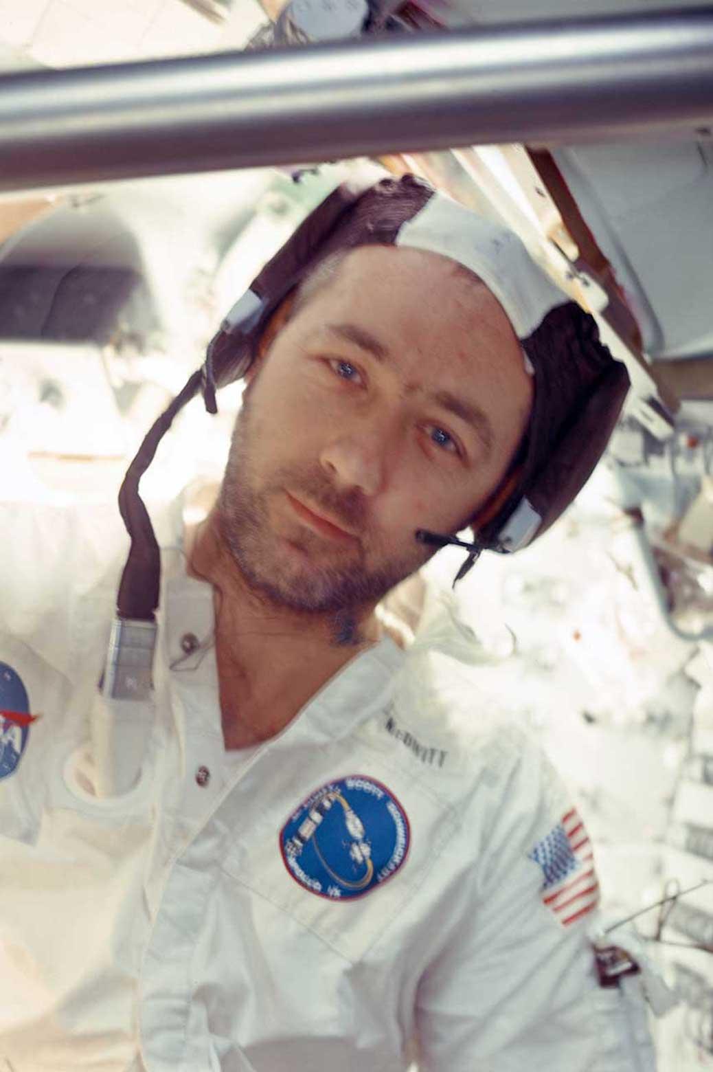 Portrait of James McDivitt in astronaut uniform