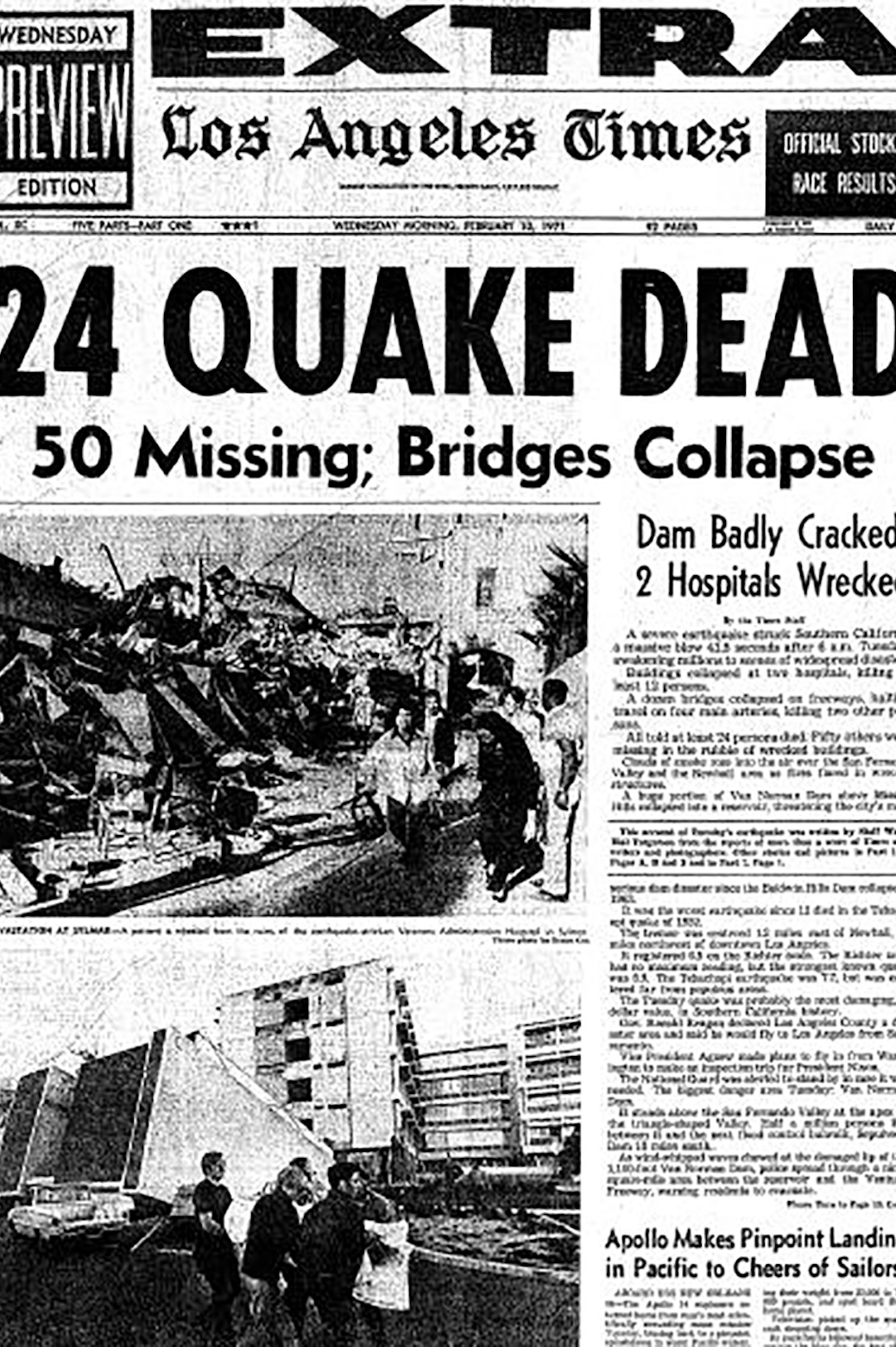 Cover of the LA times after the Sylmar earthquake