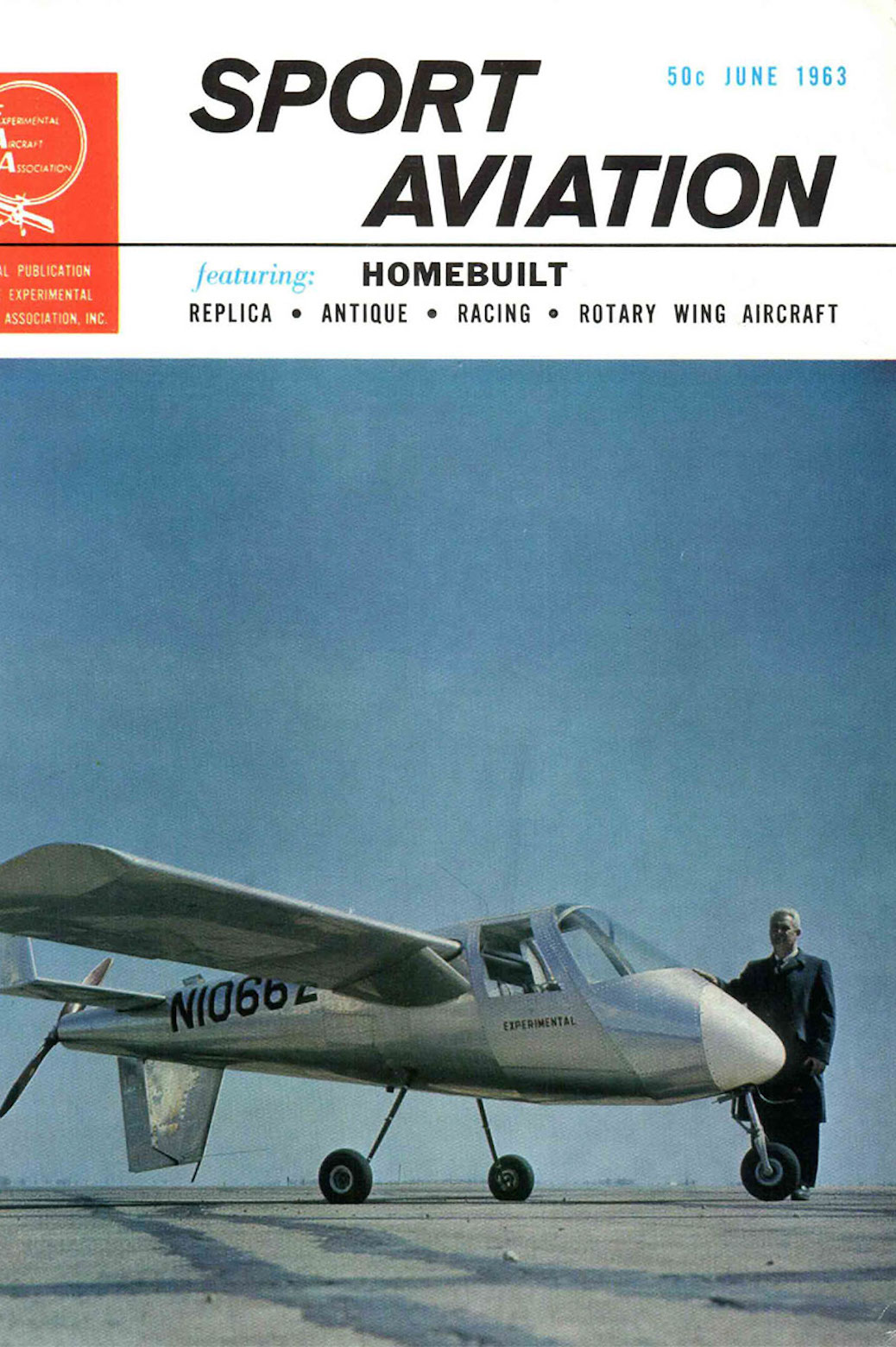 Cover of Sport Aviation, featuring Ed Lesher with his plane