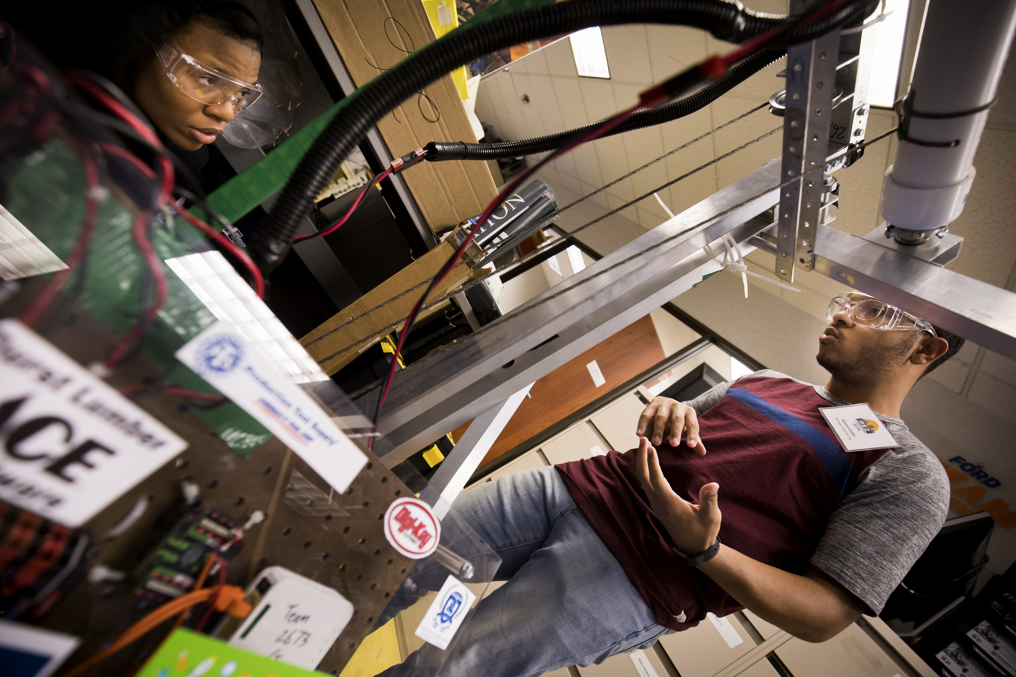Students work at the Michigan Engineering Zone in Detroit, MI