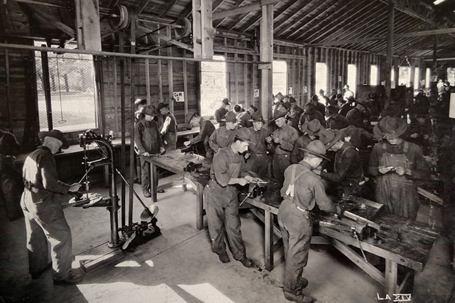 Men working on cars in workshop