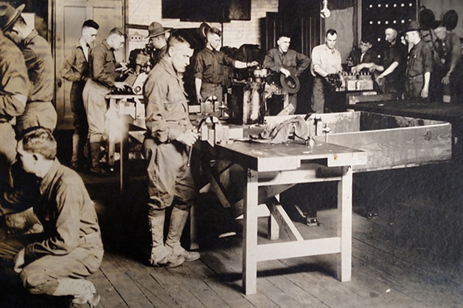 Men working with tools in a workshop