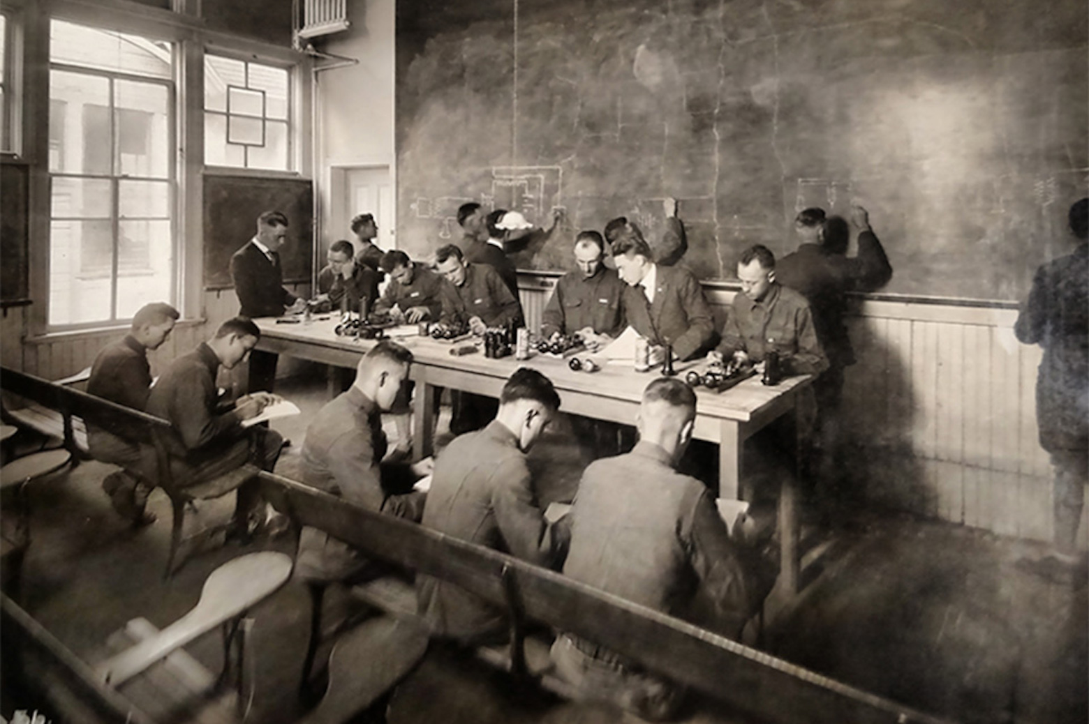 men in a classroom