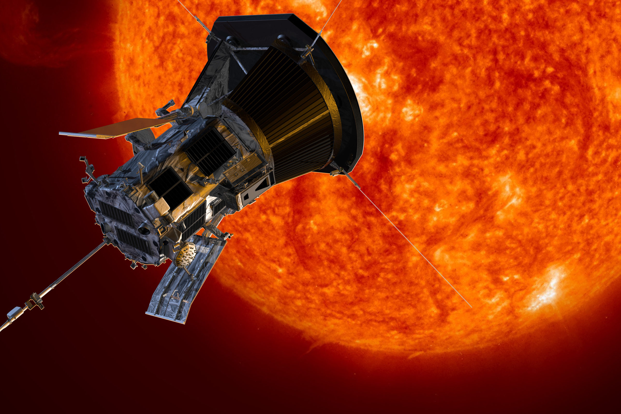 Digital illustration of the Parker Solar Probe approaching the Sun