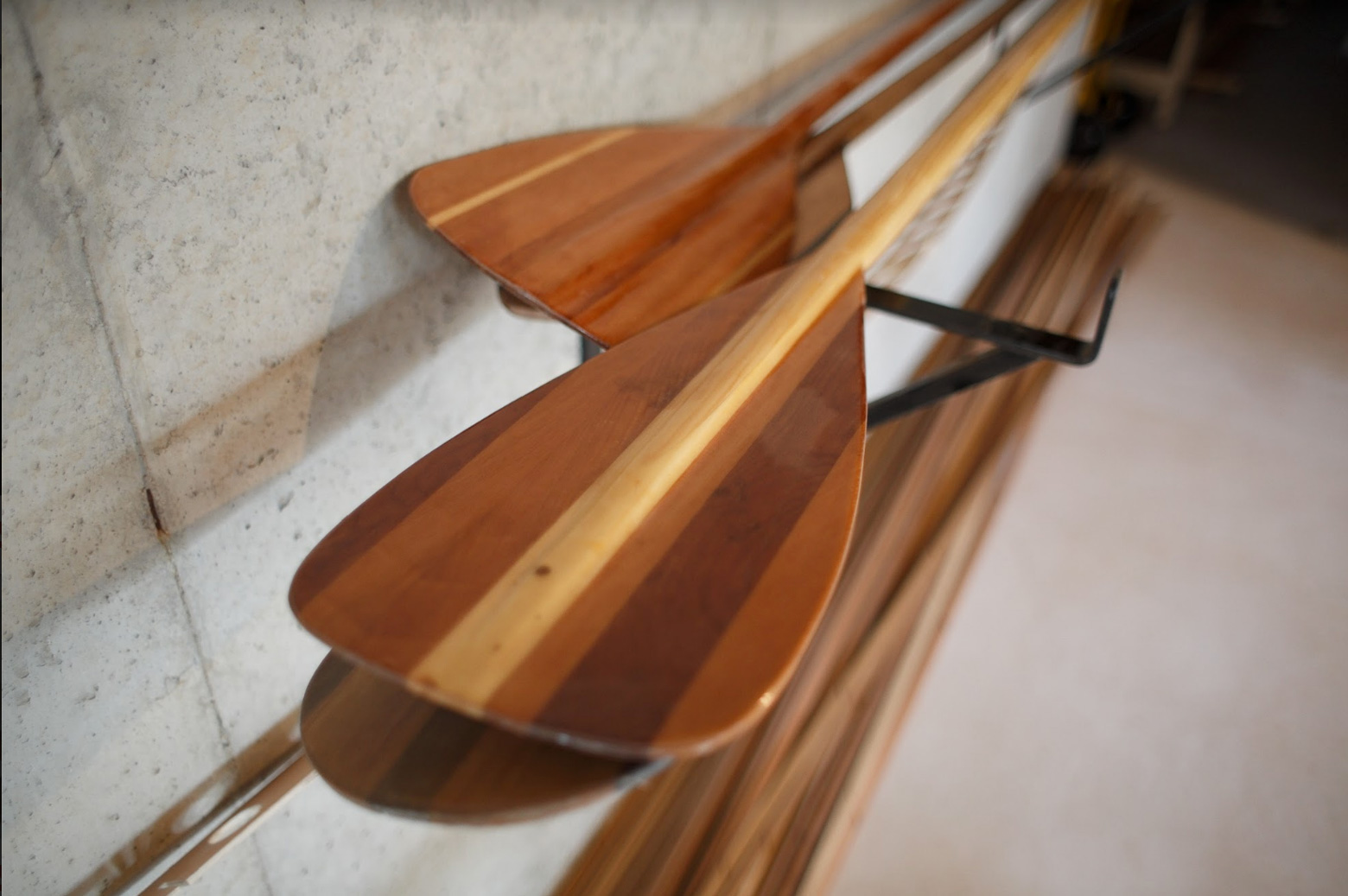 wooden boat paddles