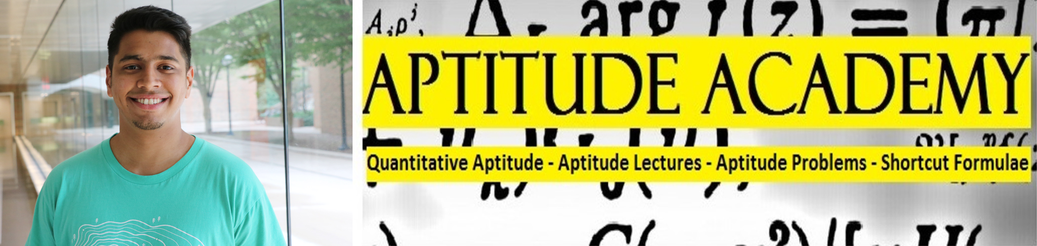 Daniel Dsouza and the Aptitude Academy logo