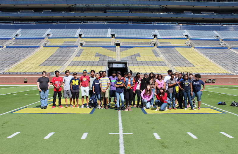 Students on the football field