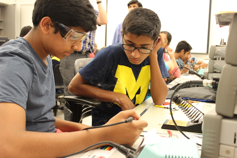 Students working