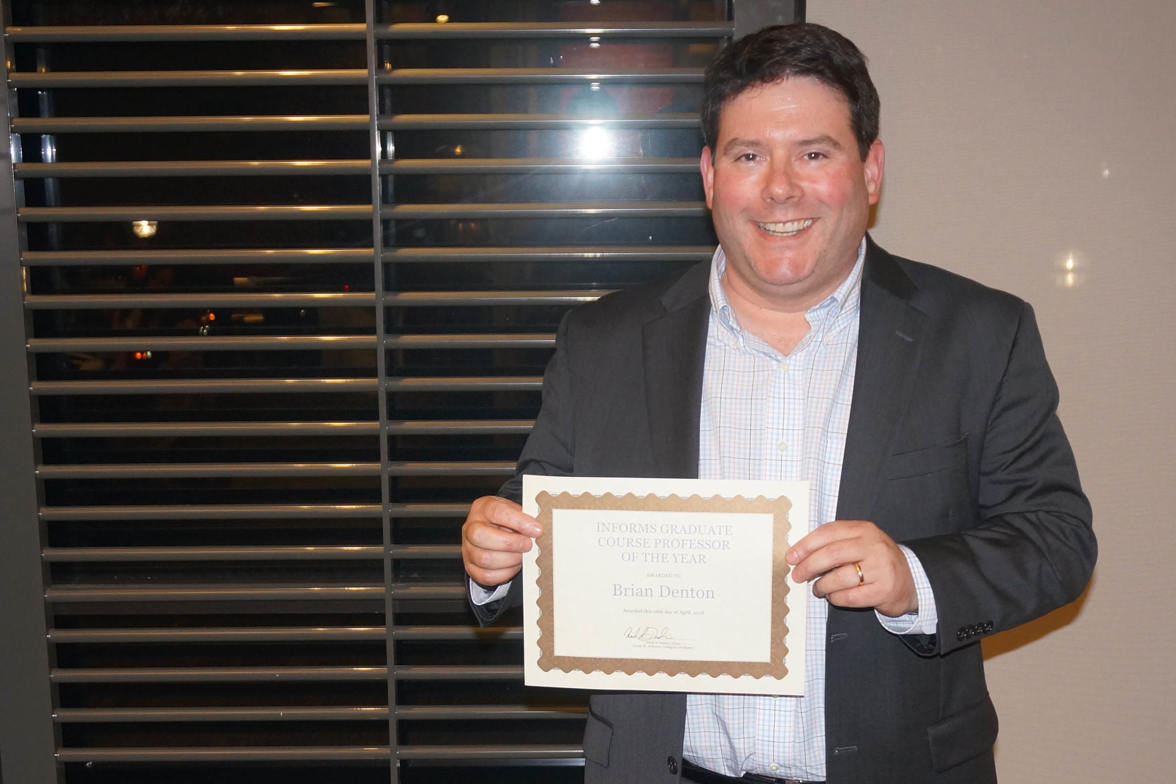 Brian Denton receives INFORMS Graduate Course Professor of the Year Award