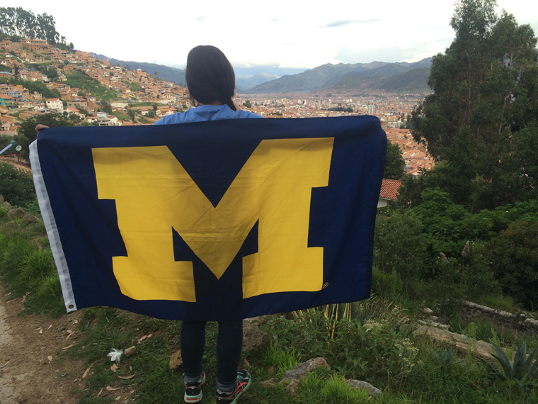 Umich flag in Peru