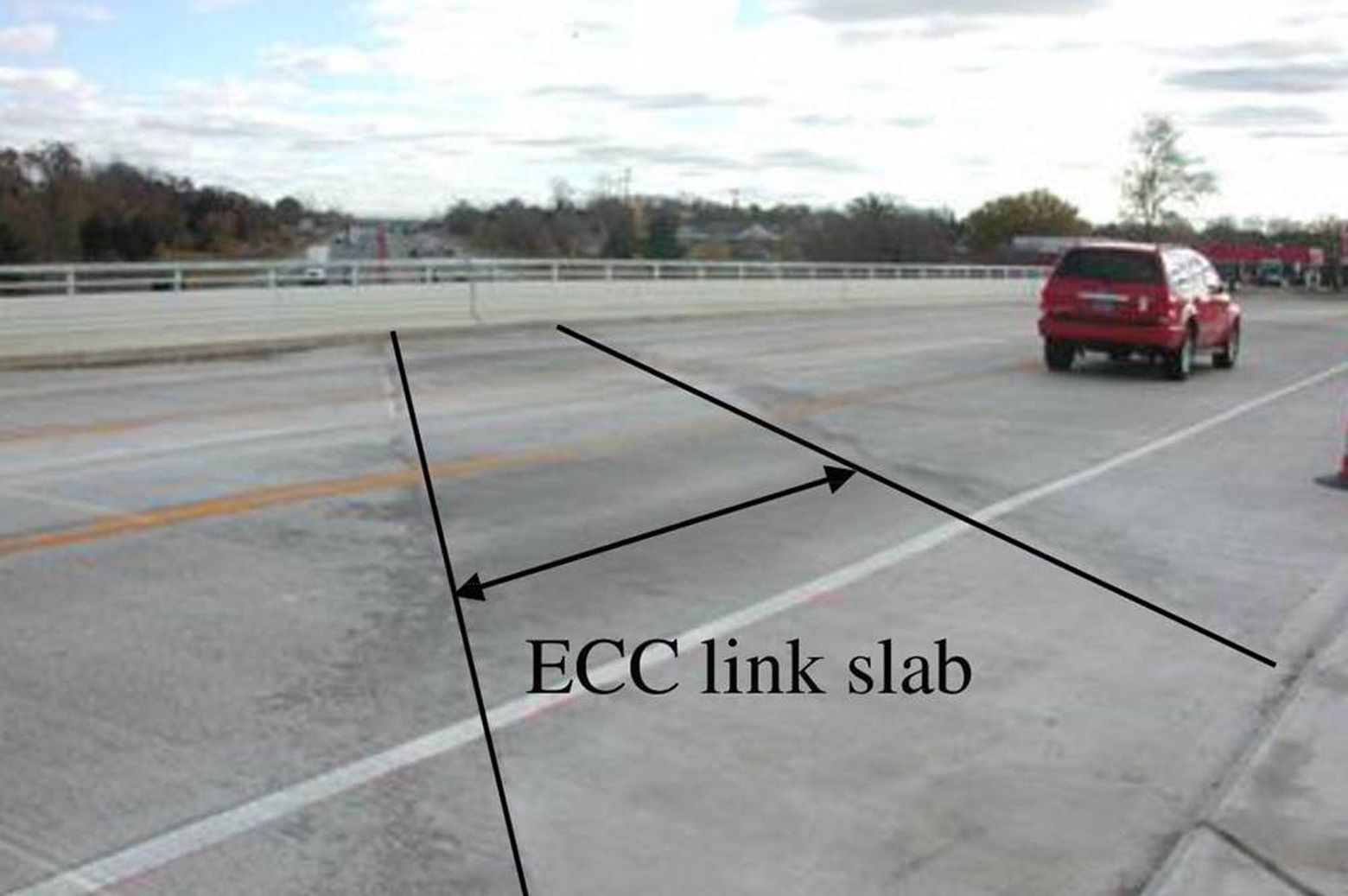 An ECC link slab on a Michigan bridge deck
