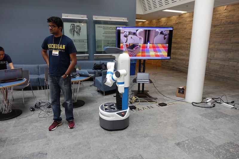 Man with robot