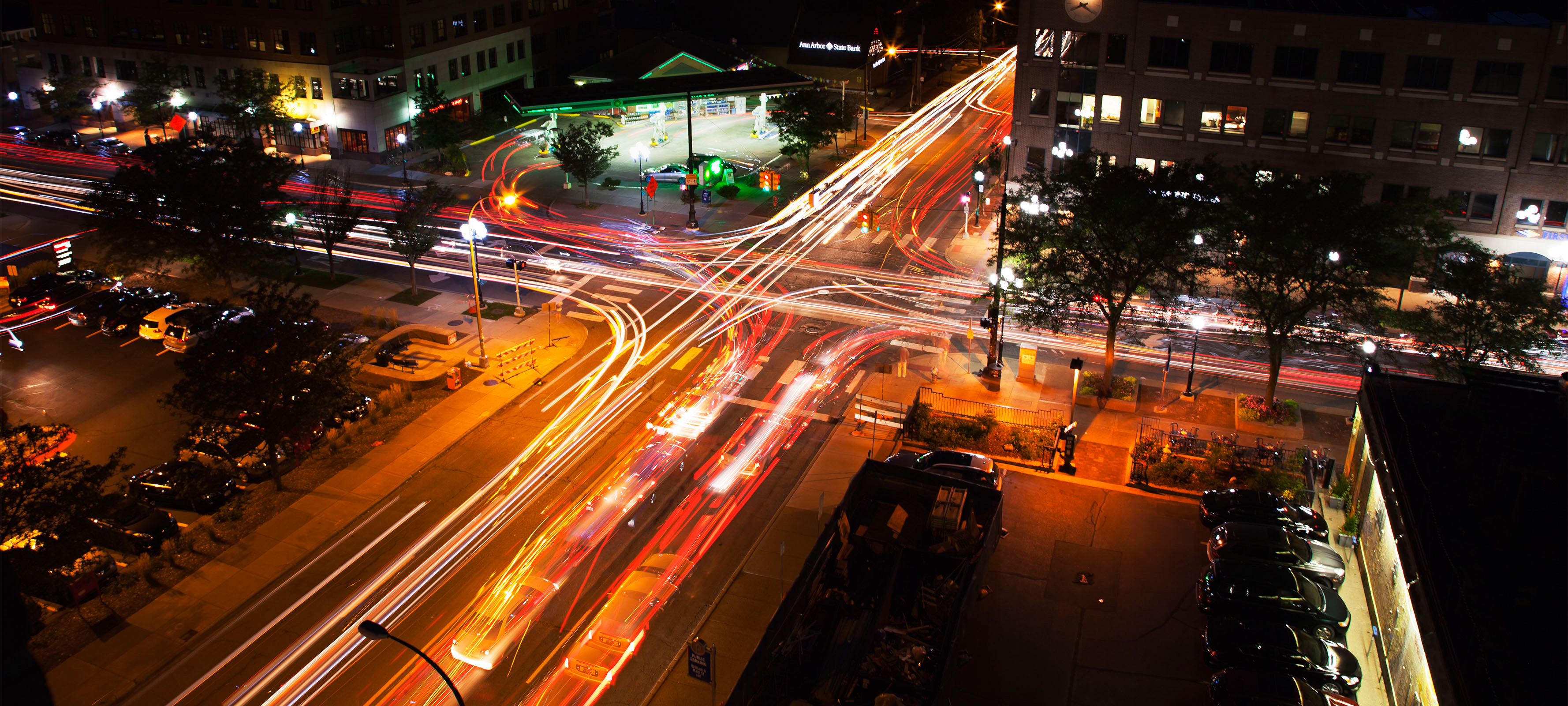 A timelapse of traffic at night in Ann Arbor.