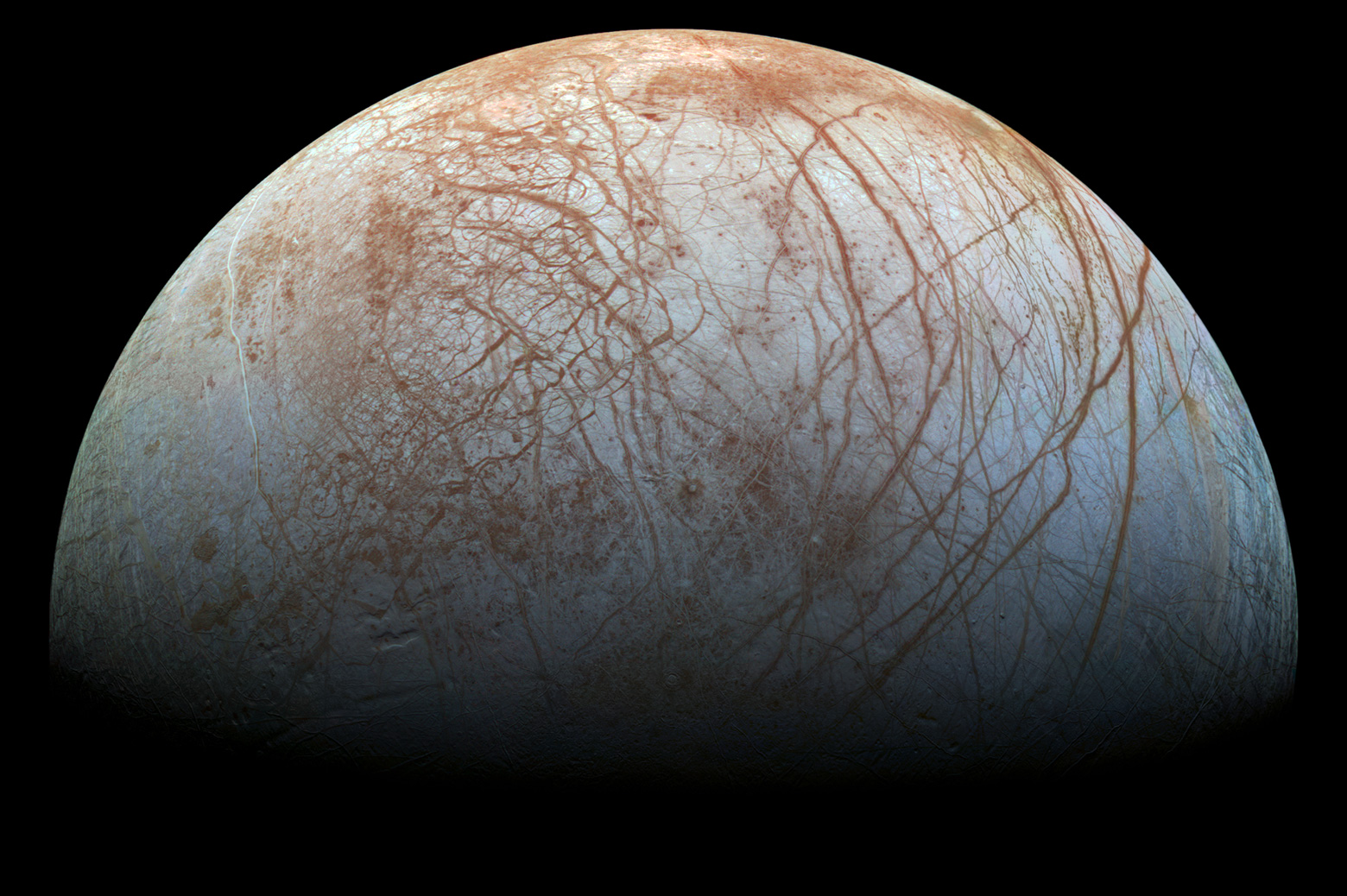Jupiter's moon Europa viewed from space