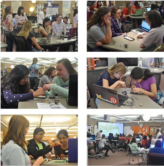 pictures of women engineers teaching high school girls programming