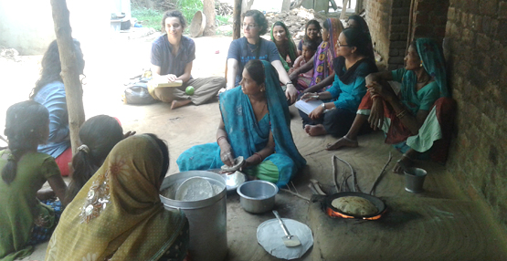 bluelab and indian villagers