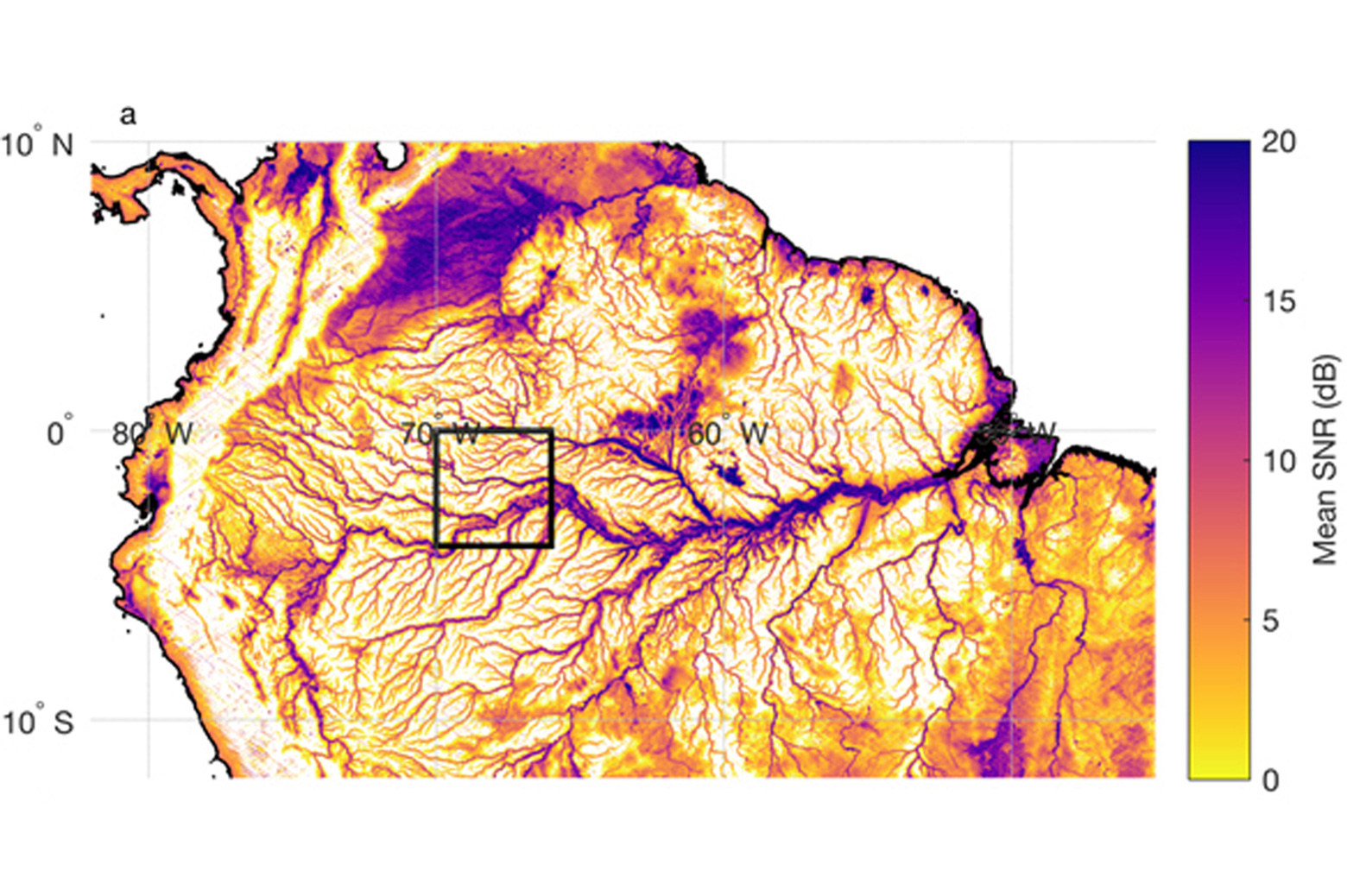 CYGNSS land imagery of the Amazon River basin in South America.