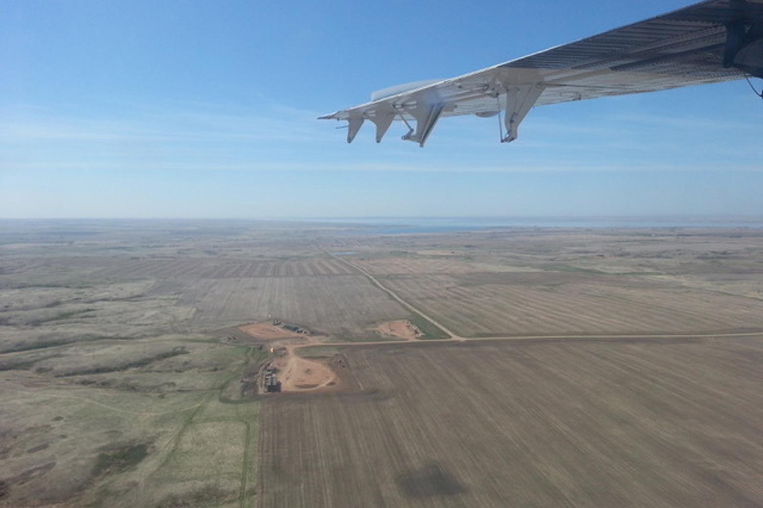 View of Bakken shale in North Dakota from a plane in flight