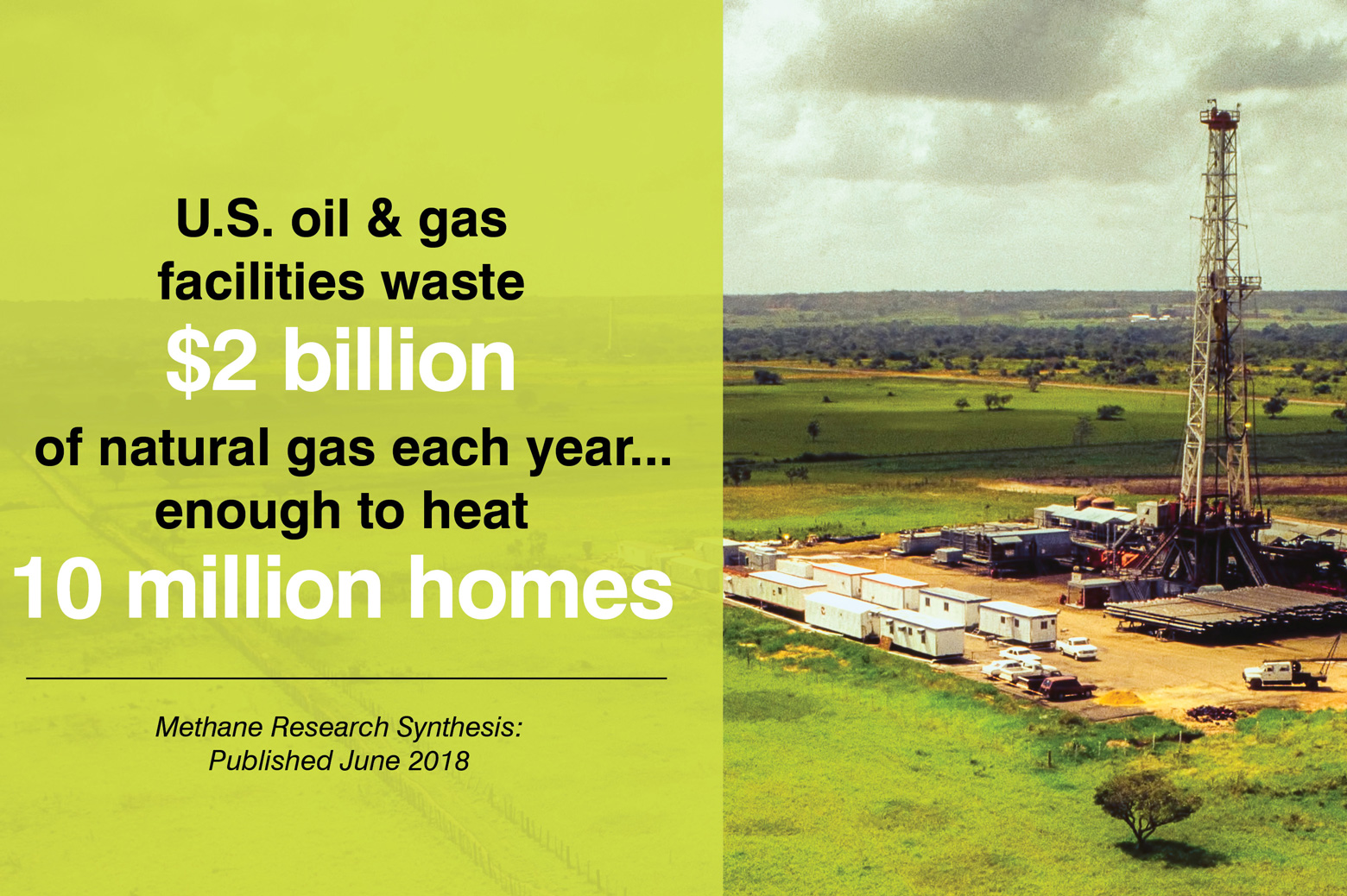 Infographic stating $2 billion of natural gas per year is wasted