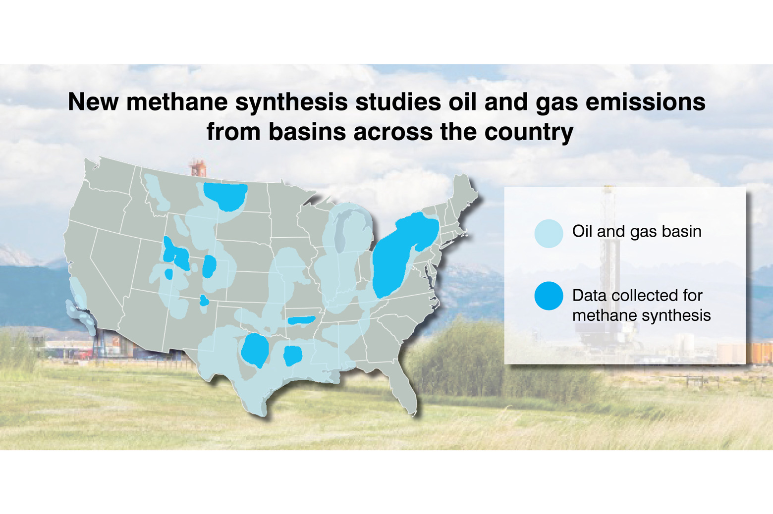 Map of the USA showing oil and gas emissions from basins around the country