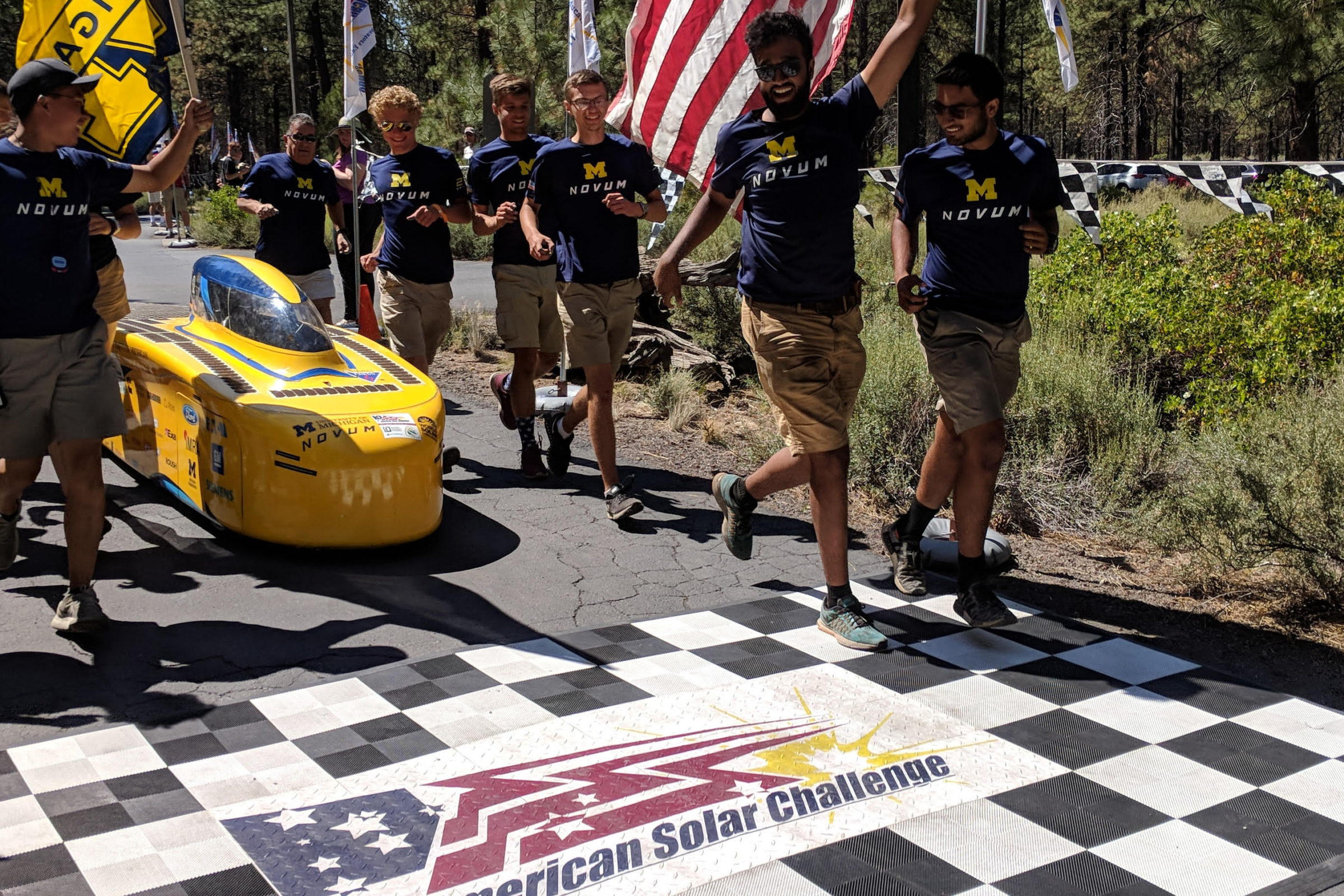 The Michigan Solar Car Team crosses the finish line. Courtesy of American Solar Challenge
