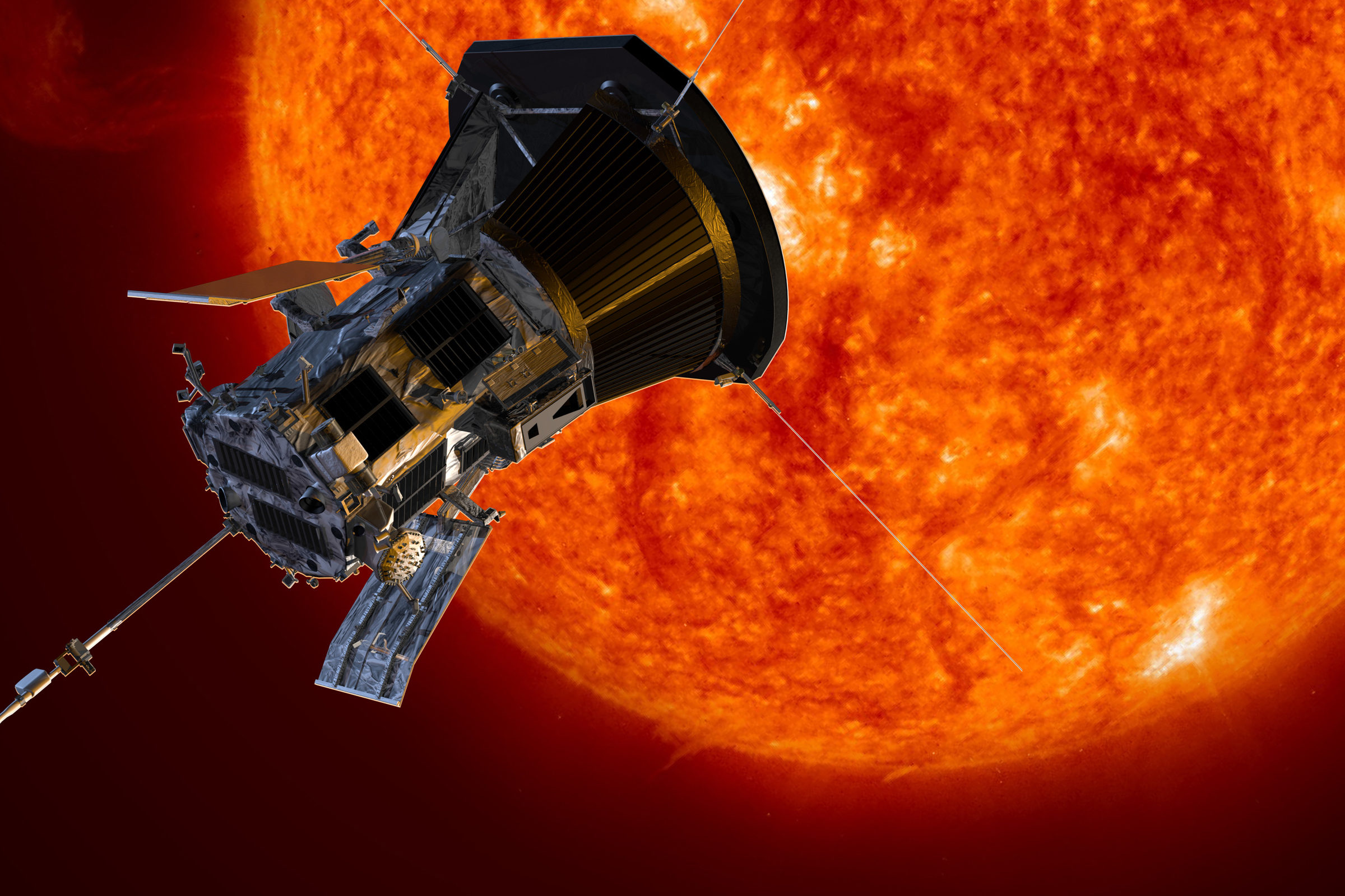 Artist's concept of the Parker Solar Probe spacecraft approaching the sun. Credit: NASA/Johns Hopkins APL/Steve Gribben