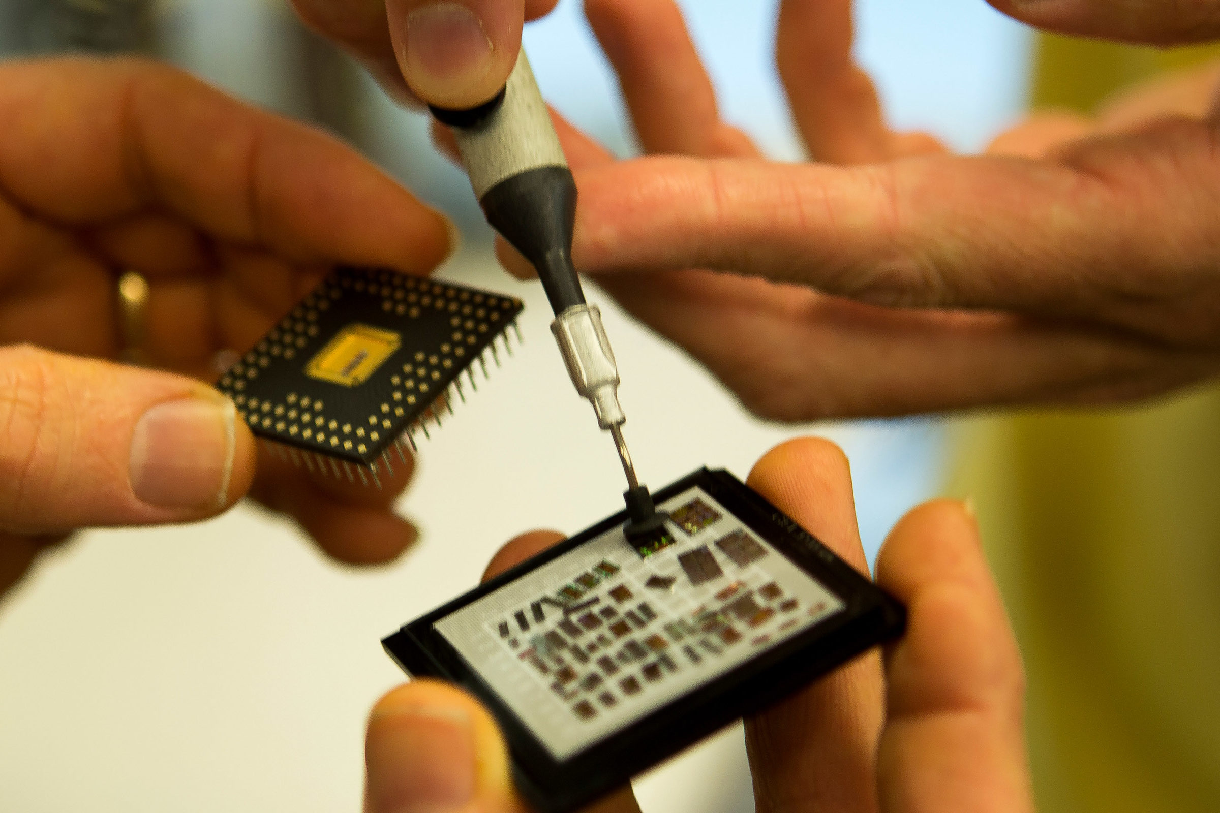 Professors work on small chips