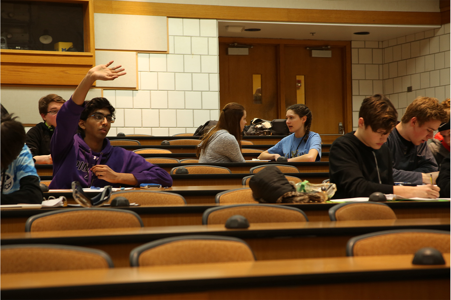 Olympiad students in lecture hall