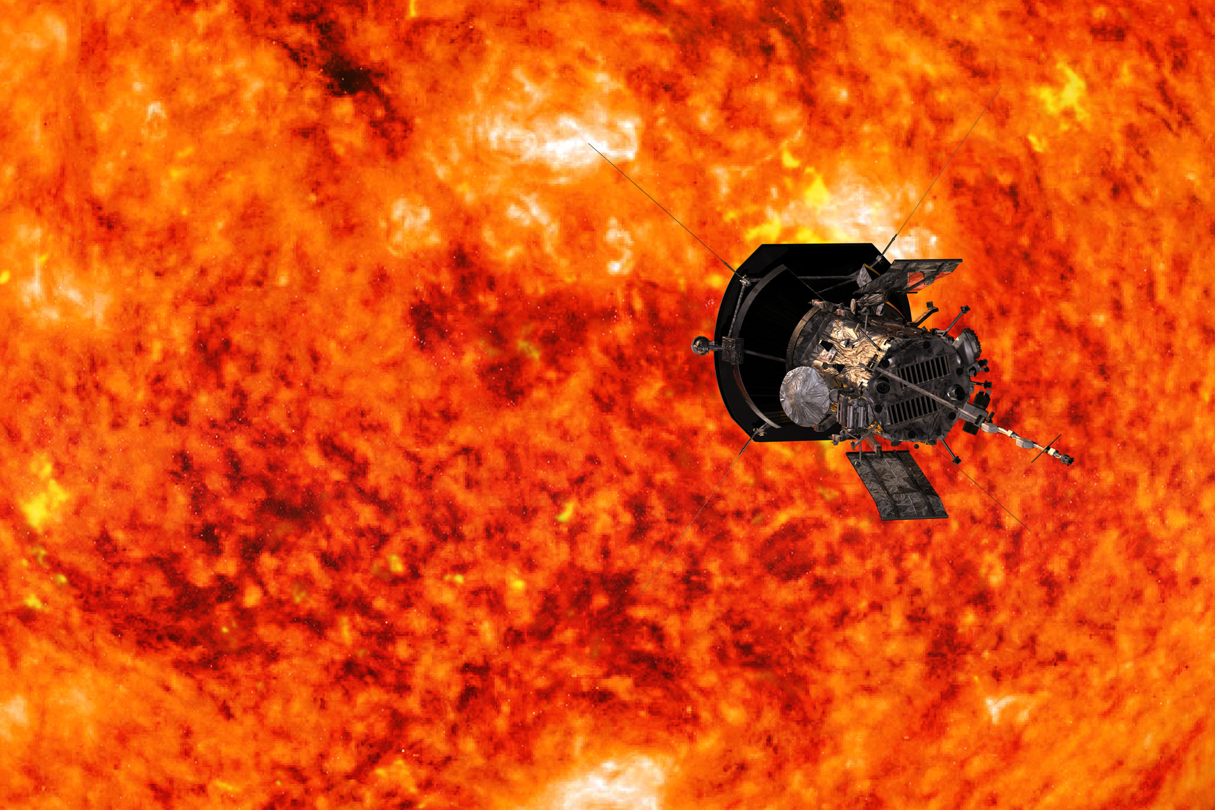 Digital rendering of the Parker Solar Probe approaching the Sun