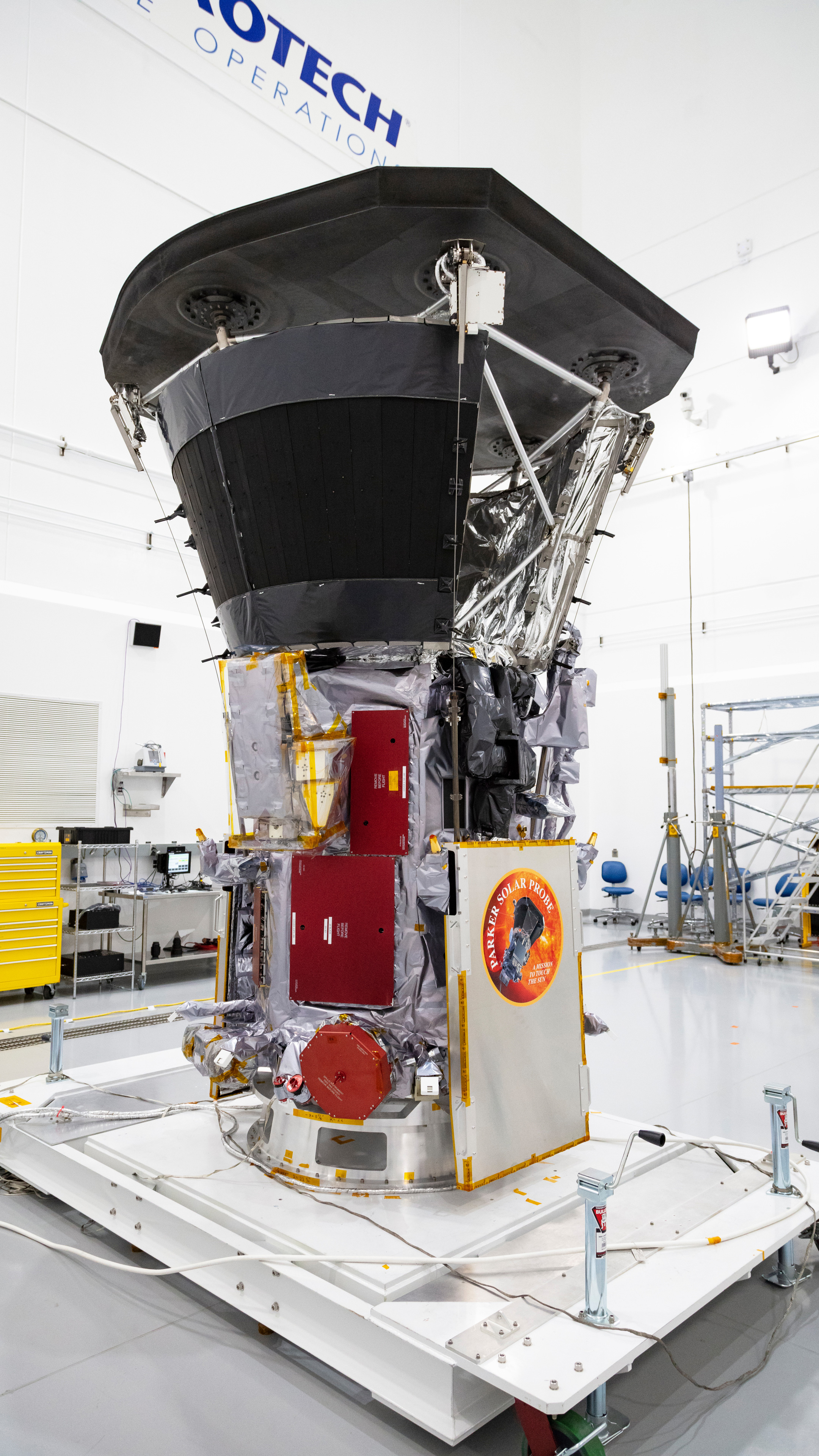 Parker Solar Probe sits in a clean room