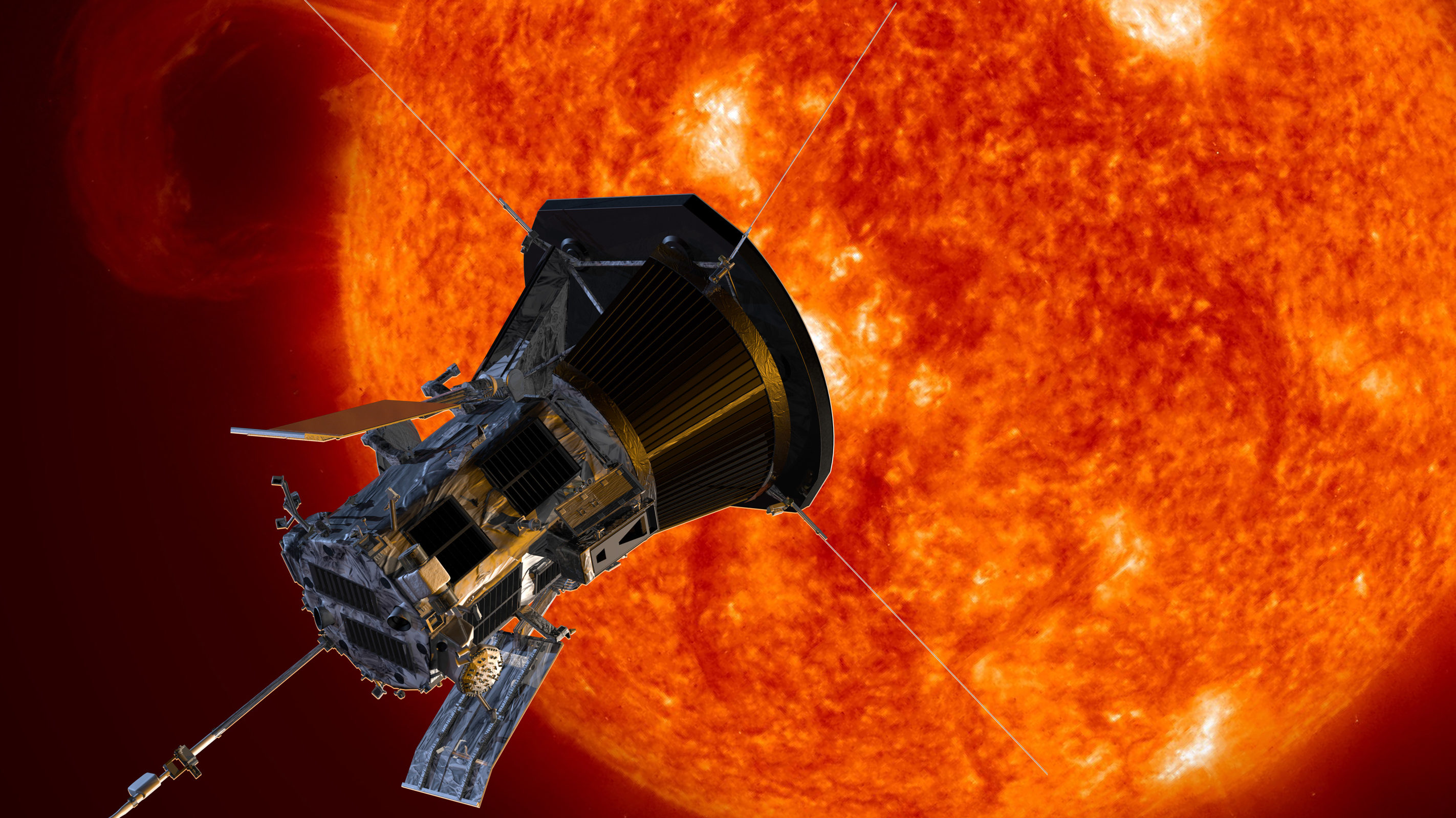 An artist's rendering of the Parker Solar Probe approaching the sun