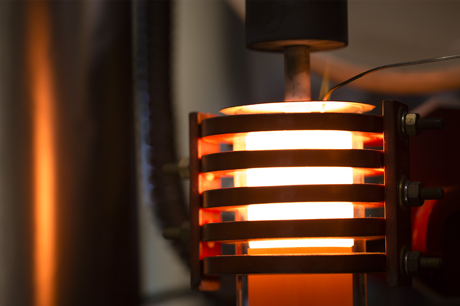 A demonstration of a machine that uses heat to densify a ceramic known as LLZO at 1,225 degrees Celsius in the Phoenix Memorial Laboratory building on August 7, 2018 in Ann Arbor, MI.
