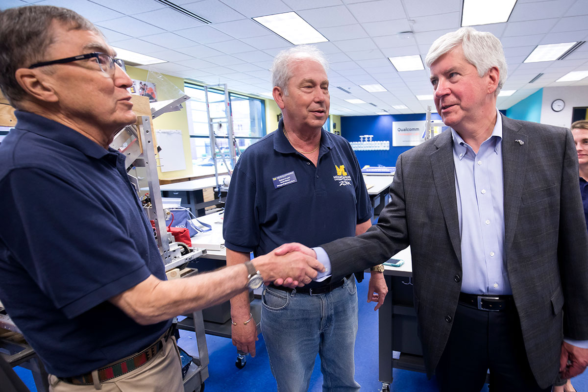 Michigan Gov. Rick Snyder touring the MEZ facility