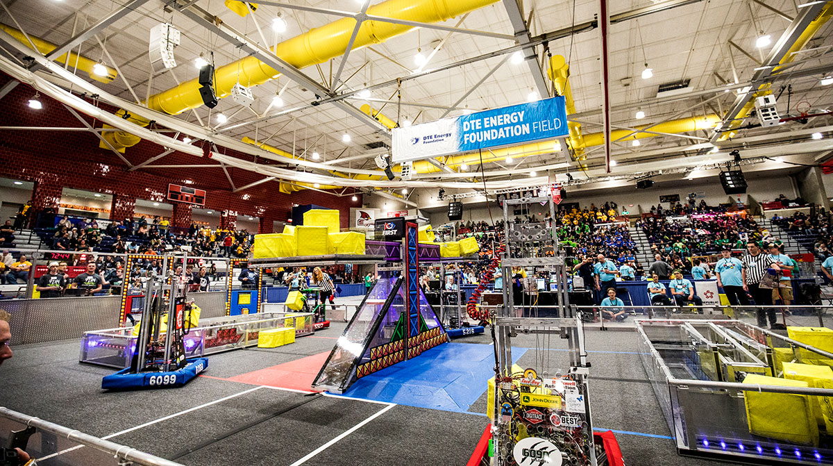 The competition area at the First Robotics state championship