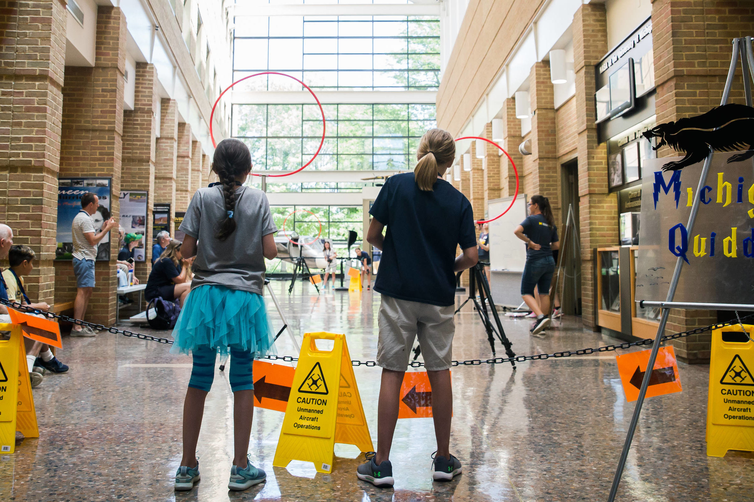 Students play Quadcopter Quidditch in the FXB atrium. Photo Credit: Chris Chartier.