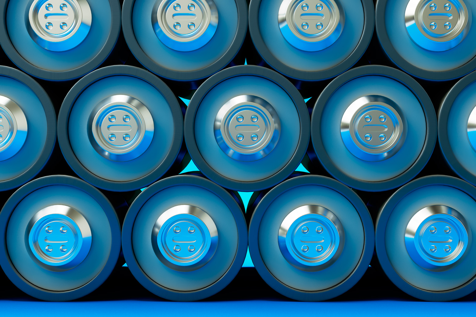 Blue batteries stacked on top of each other for storage