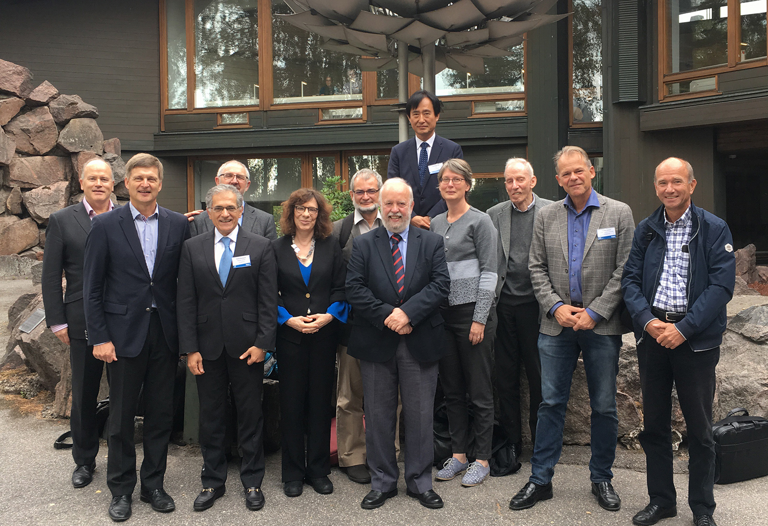 Professor Sarabandi (3rd from the right) chaired a panel to review and assess Research, Art, and Impact at Aalto University in Finland. To his right are University President Ilkka Niemela and Dean of Engineering Gary Marquis.