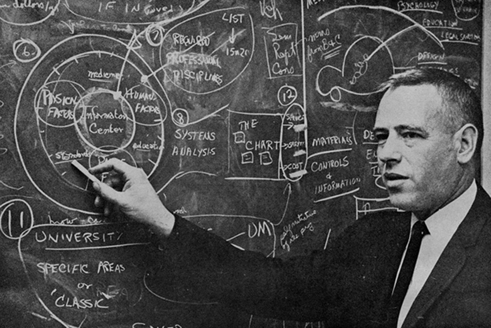 A black and white photo of a man pointing to a chalkboard covered in notes
