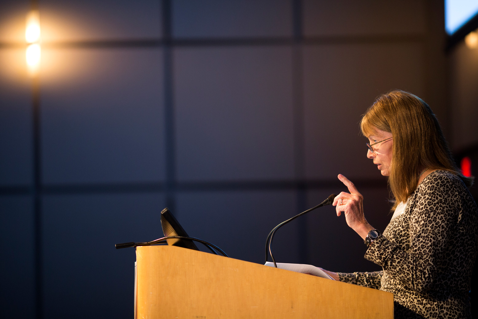 Lynn Conway, Emerita Professor of Electrical Engineering and Computer Science, speaks at a U-M Workshop on Nano and Micro Manufacturing.