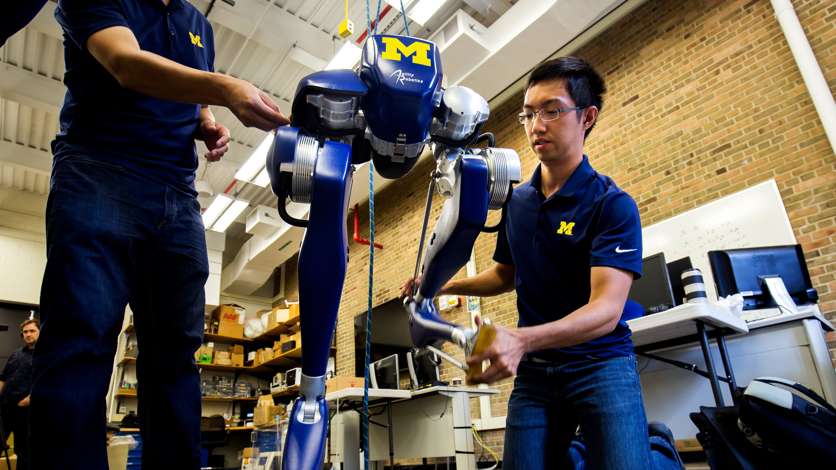Cassie, EECS Prof. Jessy Grizzle's new robot on North Campus. Photo: Joseph Xu