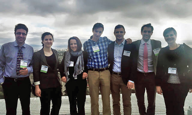 photo of Professor Pozzi and students in Berkeley, CA, at the Symposium on Radiation Measurements and Applications, May 2016